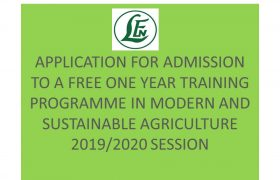 free Leventis Foundation agricultural training 2019/2020 admission